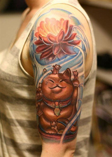 lucky cat tattoos a japanese maeneko lucky cat with a lotus flower