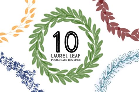10 laurel leaf procreate brushes by printable haven made for