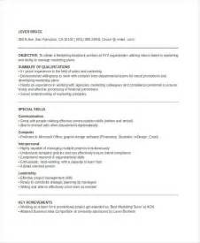 Marketing Assistant Sle Resume by Marketing Resume Templates In Word 25 Free Word Documents Free Premium Templates