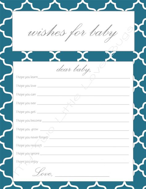 wishes for baby template wishes for baby printable baby shower baby shower
