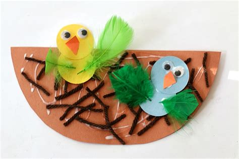 spring crafts for kids nest and baby bird craft buggy