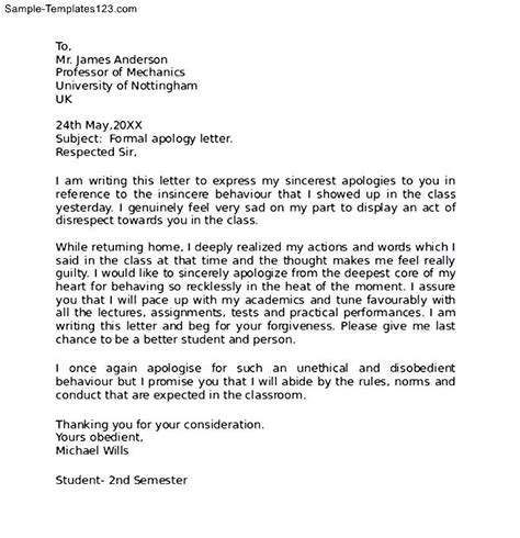 How to write a formal letter of apology to teacher   Fresh