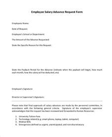 Salary Advance Request Letter Word Format Sle Employee Advance Request Forms 7 Free Documents In Word Pdf