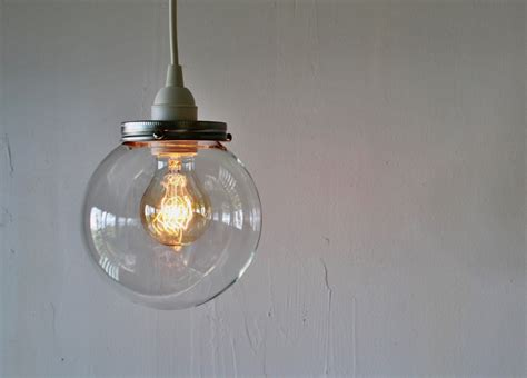 Glass Globe Pendant Light Hanging Pendant L With A Clear Orb Glass Globe Shade Simple Minimalist