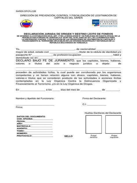 saren carta jurada para vivienda saren dpcflc2b declaracion jurada origen destino licito fondos