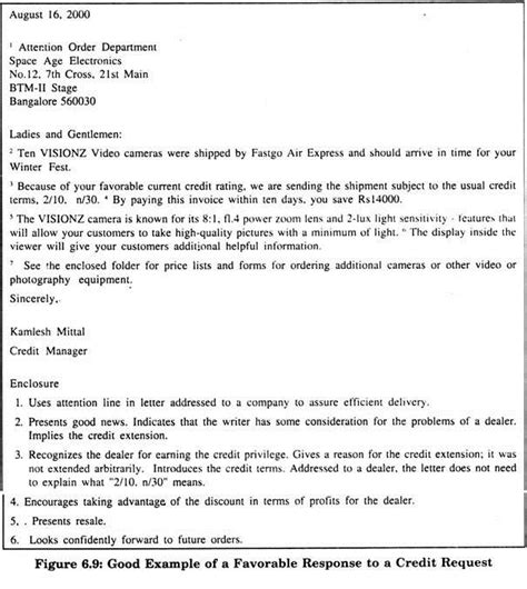Response Letter Of Credit Exle Of A Favourable Response To Credit Request Explanation Of Letters Of Credit