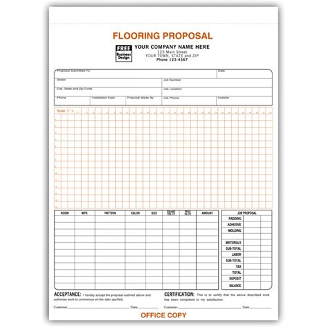 Flooring Bid Template Flooring Proposal Forms With Signature Free Shipping