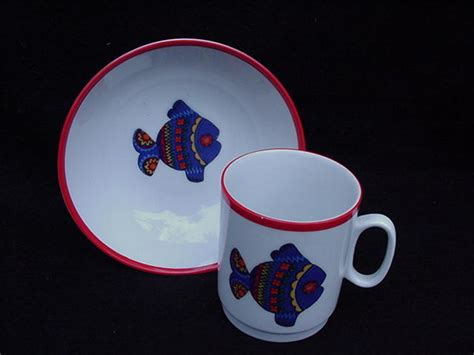 Kp Motif kaiser porcelain child s cup and bowl with fish motif west germany estate treasure trove