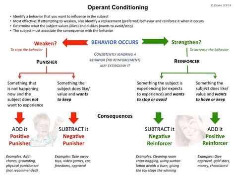 operant conditioning explanatory diagram for positive and