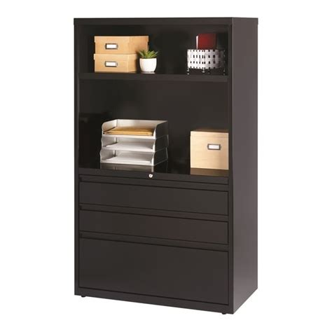 Black Lateral File Cabinet 3 Drawer Lateral File Cabinet In Black 19627