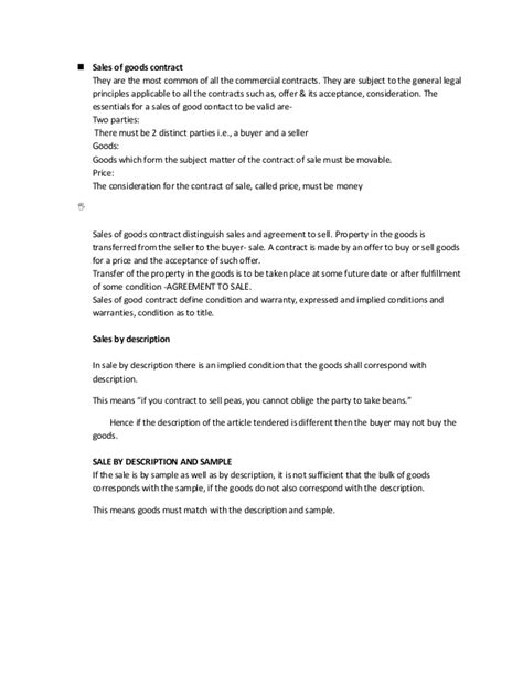 sle sale of goods contract sales contract template