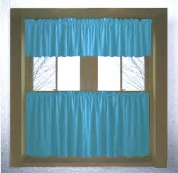 Cafe Style Kitchen Curtains Solid Turquoise Colored Caf 233 Style Curtain Includes 2 Valances And 2 Kitchen Curtain Panels In