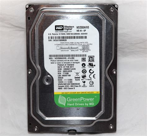 Hdd Wd 250gb western digital green power wd2500avvs 61l2b0 250gb 3 5 quot sata drive wd 718037724485 ebay