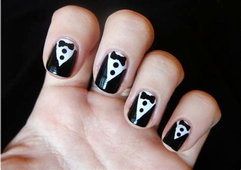 cute simple tuxedo nail art design by cutepolish the 25 simple nail art designs for beginners lifestylica