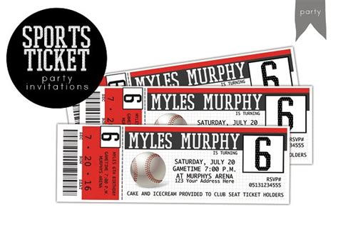 birthday sports ticket invitation invitation templates