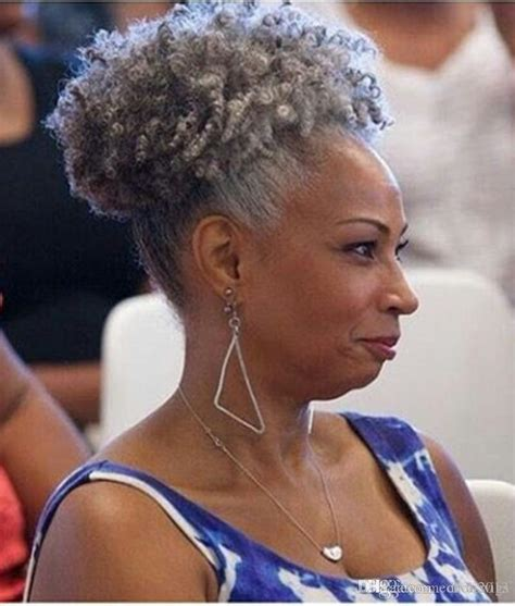 grey hair drawstring ponytail afro kinky curly weave ponytail hairstyles clip ins gray