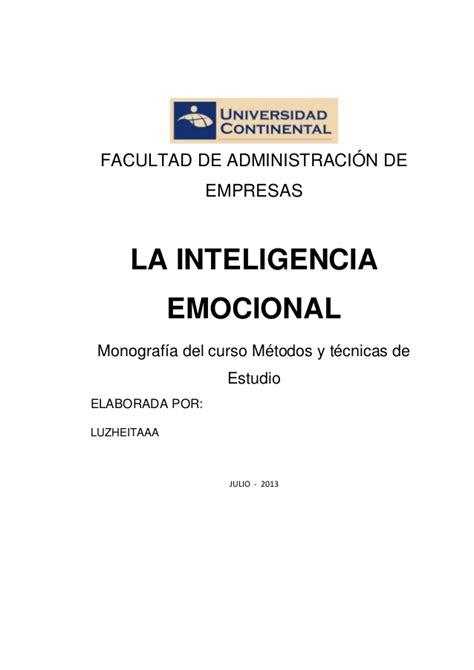 la inteligencia emocional inteligencia emocional monografia