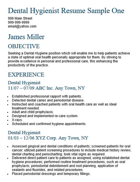 Dental Hygienist Resume Exle by Sle Dental Hygiene Resume Resume Ideas