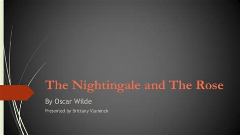 Oscar Wilde The Nightingale And The Essay by The Nightingale And The