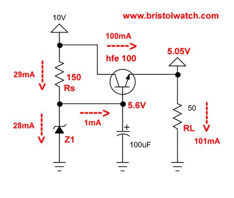 simple voltage regulator with zener diode transistor zener diode regulator circuits