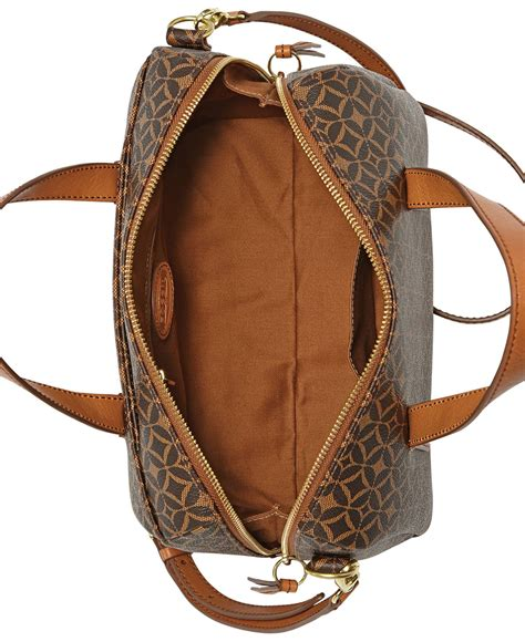 Fossil Womens Dawson Satchel Printed Faux Multi Colour Leather 2in1 H lyst fossil sydney satchel in brown