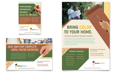 ad templates free painter painting contractor flyer ad template design