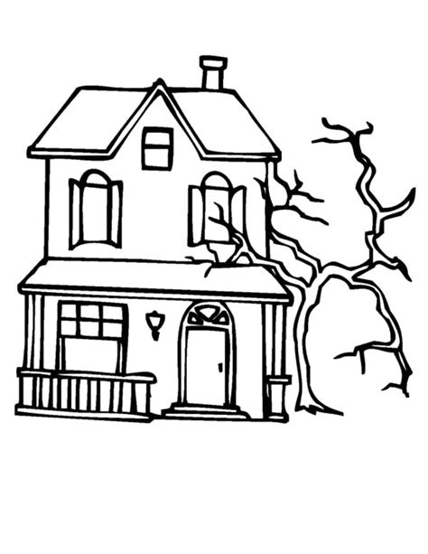 haunted tree coloring page spooky tree coloring pages