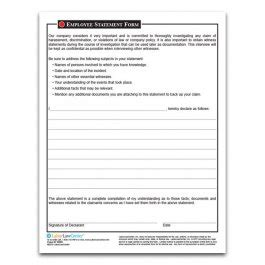 Employee Statement Form Harassment Incident Report Form Harassment Report Template