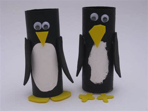 Penguin Toilet Paper Roll Craft - cardboard penguins family crafts