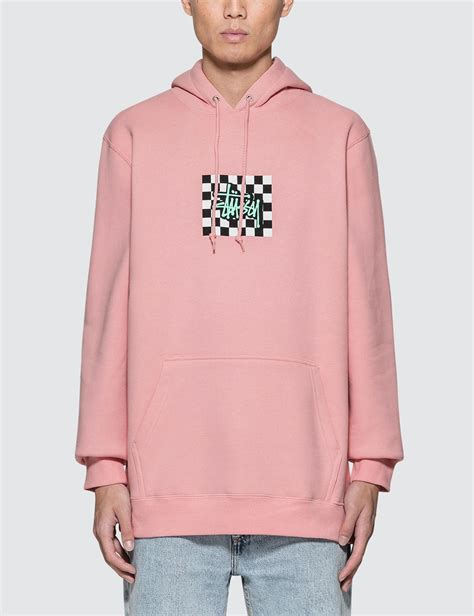 Hoodie Stussy New Yorkleadermerch lyst stussy checkers hoodie in pink for