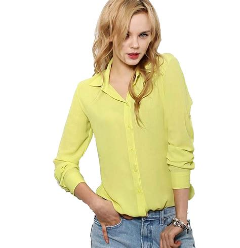 New Blouse 1 blouses button 5 solid color 2015 new sleeve shirt chiffon blouse s slim