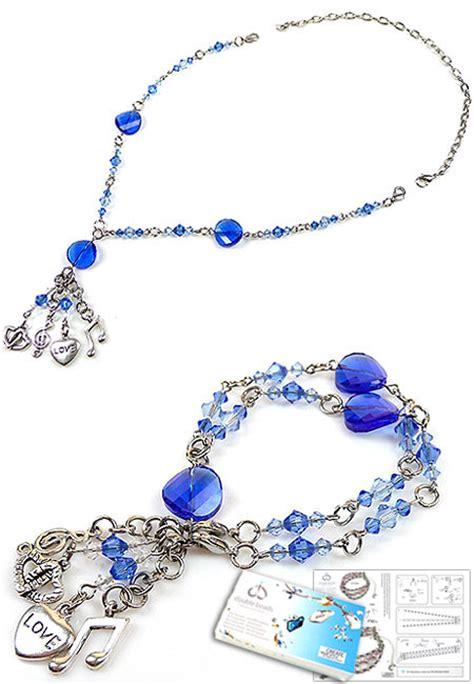 swarovski jewelry kits doublebeads jewelry kit blues necklace bracelet 177 53cm