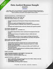 Analyst Resume Objective by Data Analyst Resume Sle Resume Genius