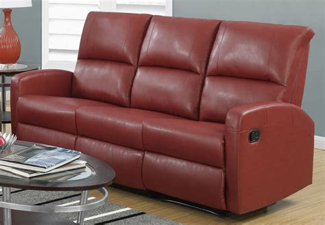 red reclining sofa red bonded leather reclining sofa 84rd 3 monarch