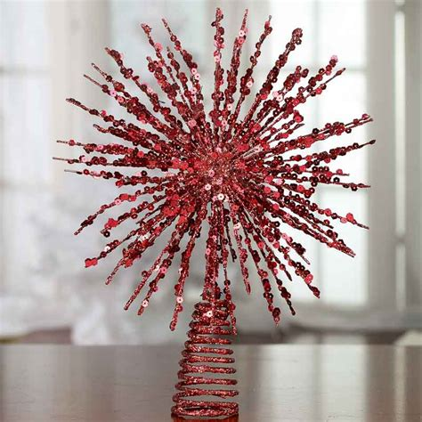 red glittered wire starburst tree topper christmas trees