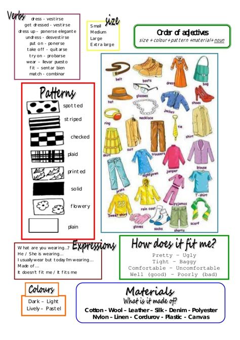 adjective patterns english exercises clothes voc