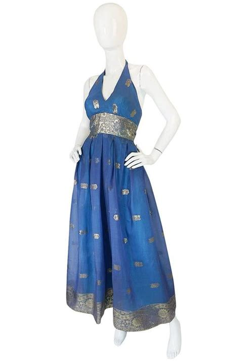 Blue Silk Backless Dress 1960s backless blue and gold sari inspired silk dress at