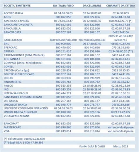 numeri a caso smarrimento della carta di credito cosa fare costi