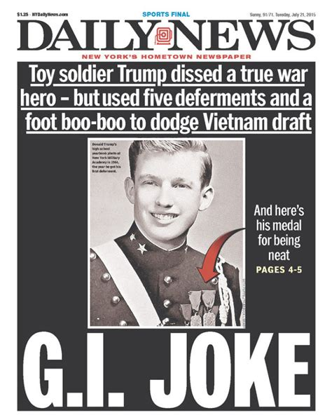Daily Memes - ny daily news cover mocks trump as g i joke for avoiding draft photo talking points memo