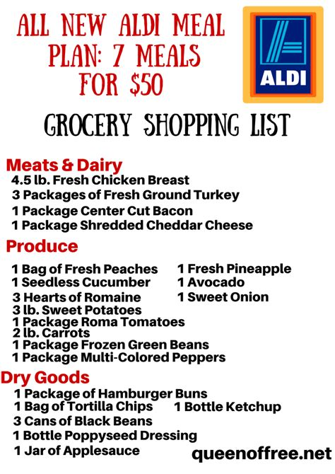 aldi printable shopping list all new aldi meal plan 7 simple meals for 50