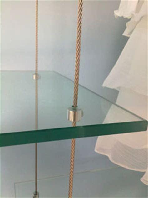 mensole vetro sospese esempi morsetti