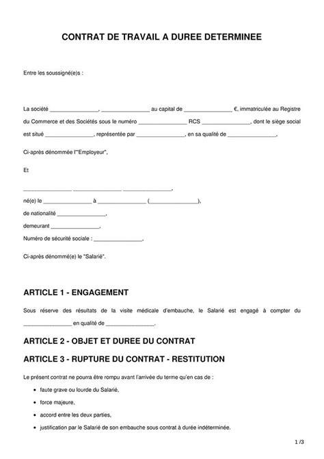 Modèle de CDD à Télécharger - Word & PDF Conçu par des avocats