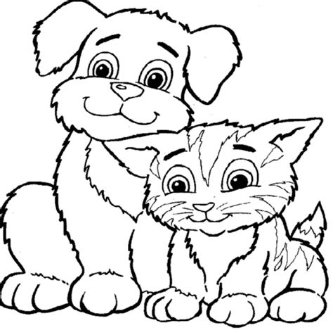 printable coloring pages of cats and dogs coloring pages dog amp cat coloring pages printable kids