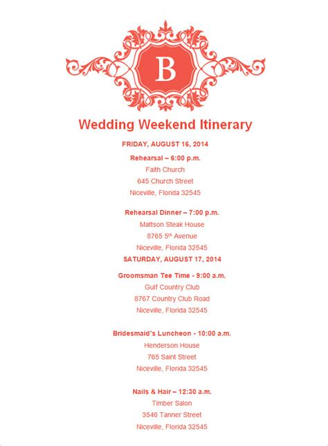 bridal itinerary template wedding weekend itinerary template 7 free word pdf