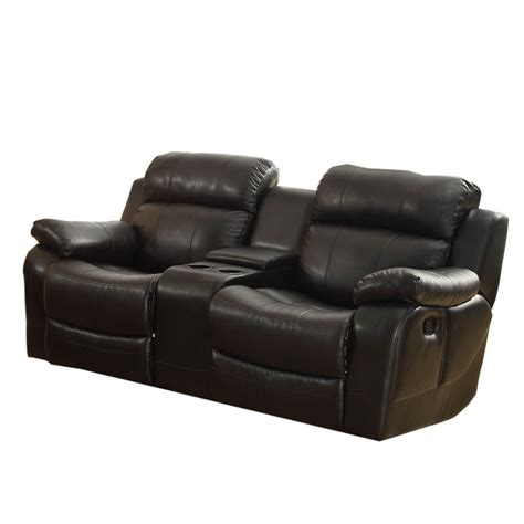 leather reclining sofa with console reclining sofa with center console from sears com