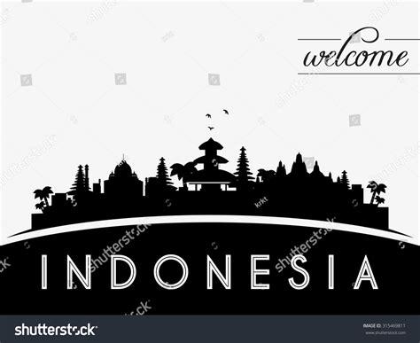 Indonesia Skyline Silhouette Black White Design Stock | indonesia skyline silhouette black white design stock