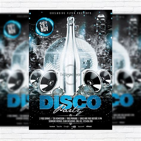 template flyer disco disco party premium flyer template facebook cover