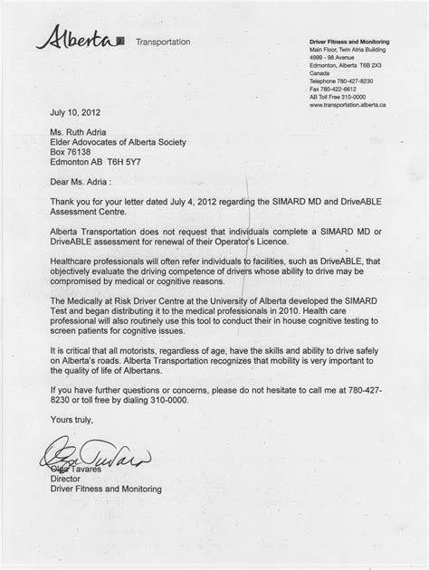 Reference Letter From Employer For Truck Driver Request For Answers From Driver Fitness And Monitoring Branch Elder Advocates Of Alberta Society