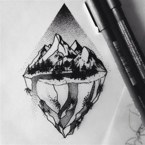 dotwork tattoo pen drawing illustration landscape mountains forest rocks