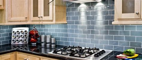 blue glass subway tile backsplash kitchen